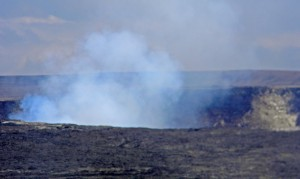 Smoke and steam rising from Halema'uma'u Crater